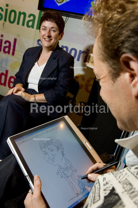 Cartoonist Rick Coleman draws Mary Bousted ATL, on the ATL stand at Labour Party Conference 2006. - Jess Hurd - 2006-09-26