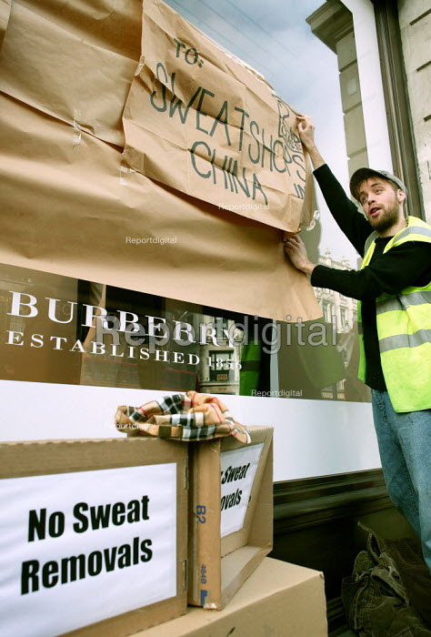 Burberry workers from the Treorchy factory in Wales bring their protest to London against factory closure and relocation to China. The Regents Street store is symbolically wrapped and sent to China. - Jess Hurd - 2007-01-27