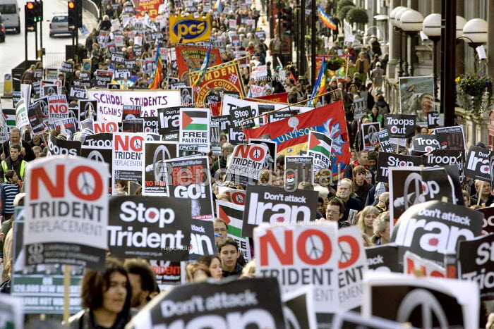 No to Trident, Troops out of Iraq demonstration. Called by Stop the War, CND and BMI. London. - Jess Hurd - 2007-02-24
