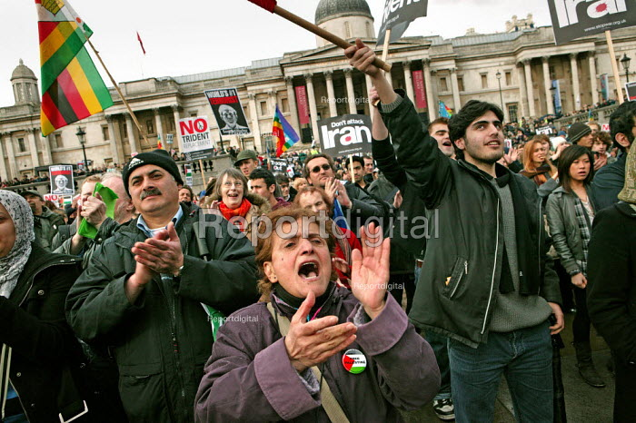 No to Trident, Troops out of Iraq demonstration. Called by Stop the War, CND and BMI. Trafalgar Square. London. - Jess Hurd - 2007-02-24