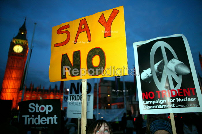 CND demonstration on the night of the Parliament Trident replacement vote. Westminster, London. - Jess Hurd - 2007-03-14