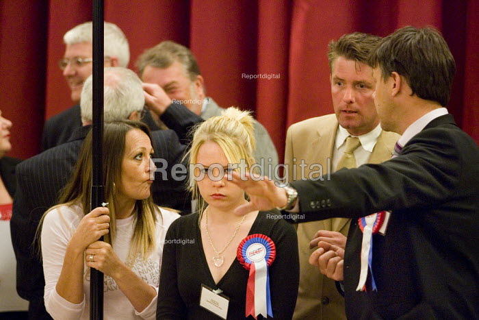 Richard Barnbrook BNP organiser with Lauren Kay 19 year old failed BNP candidate for Stanford-Le-Hope West. Local Government council elections, Thurrock. - Jess Hurd - 2007-05-04