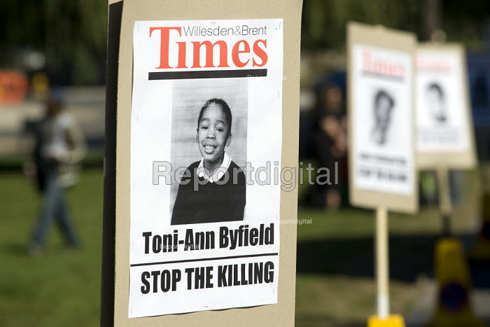 Toni-Ann Byfield placard. Not Another Drop - Peace demonstration to stop gun and knife violence in Brent. London. - Jess Hurd - 2007-09-15