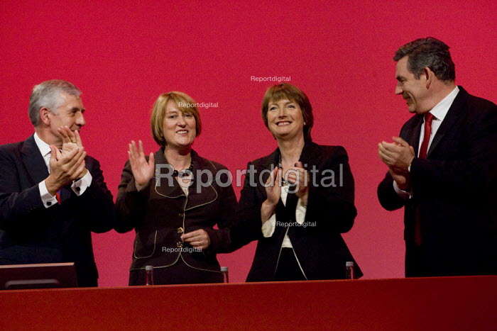 Gordon Brown, Harriet Harman and Jack Straw MP applaud Jacqui Smith at the Labour Party Conference, Bournemouth 2007. - Jess Hurd - 2007-09-27