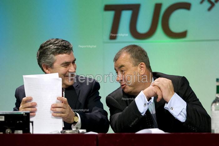Prime Minister Gordon Brown with Brendan Barber. TUC, Brighton. - Jess Hurd - 2007-09-10