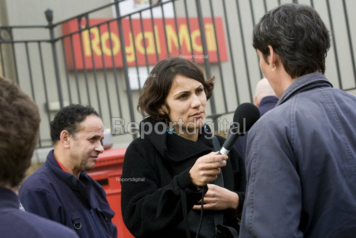 CWU Rep is interviewed on the picket line by the BBC. CWU postal workers take unofficial strike action in a dispute over, pay, pensions and job losses. Poplar and Isle of Dogs Delivery Office. Tower Hamlets. London. - Jess Hurd - 2007-10-11