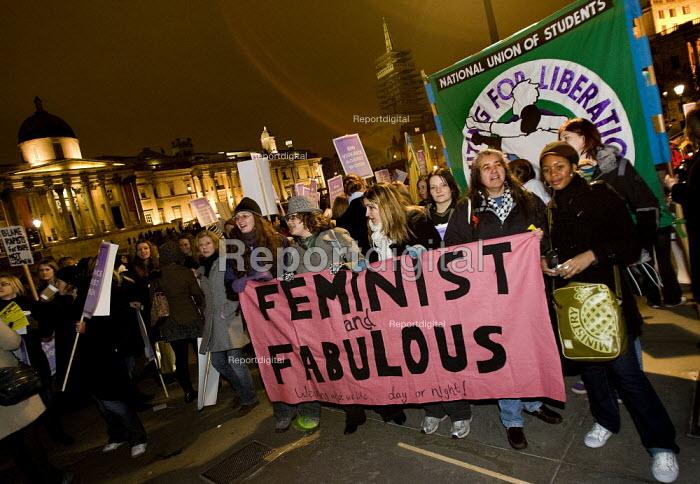 Reclaim the Night, women against violence demonstration. Trafalgar Square. London - Jess Hurd - 2007-11-25