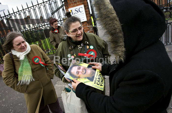 Carole Vincent, Respect candidate campaigning ouside a college in the Leyton ward council by-election with Respect Mayor candidate Lindsey German. London. - Jess Hurd - 2008-01-31
