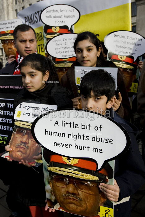 Amnesty International activists and lawyers demonstrate outside Downing Street to protest against the serious human rights abuses in Pakistan as President Pervez Musharraf visits London. - Jess Hurd - 2008-01-26