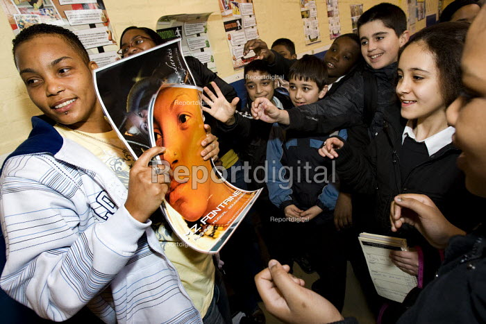 Mz Fontaine, a local lesbian rapper entertains pupils during LGBT History Month celebrated by Stoke Newington Secondary School, Media, Arts and Science College. Hackney. London. - Jess Hurd - 2008-02-29