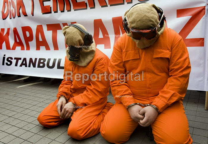 Anti war, Peace and Justice coalition Guantanamo Bay protest. Istanbul, Turkey. Dressed up as inmates of Guantanamo Bay - Jess Hurd - 2008-03-12