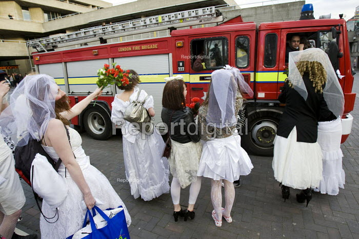 The Brides of March ambush firefighters from Lambeth fire station. 1st London Bridalthon. South Bank. - Jess Hurd - 2009-03-14