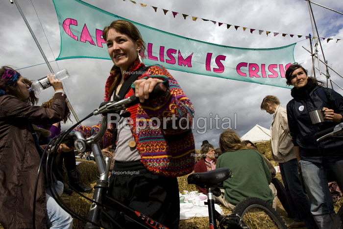 Capitalism is Crisis banner. Climate Camp on Blackheath. South East London. - Jess Hurd - 2009-08-28