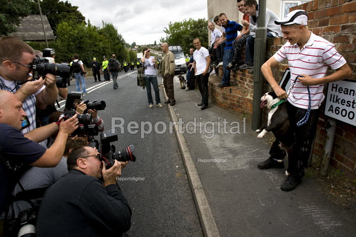 Press take photographs of a BNP supporter. Unite Against Fascism protest outside the BNP Red White and Blue Festival in Condor, Derbyshire. - Jess Hurd - 2009-08-15