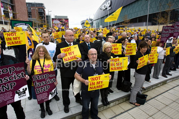 Not In Our Name vigil against racism and the BNP. TUC Congress, Liverpool. - Jess Hurd - 2009-09-14