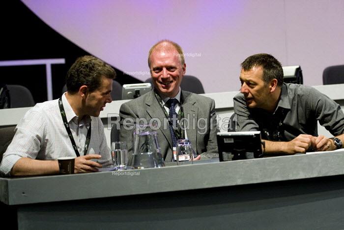 Mark Serwotka PCS, Matt Wrack FBU and Jeremy Dear NUJ TUC Conference, Liverpool. - Jess Hurd - 2009-09-16