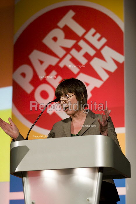 Frances OGrady TUC. FBU national rally and lobby of parliament against the closure of emergency fire control rooms and in support of striking Yorkshire firefighters. East London. - Jess Hurd - 2009-10-21