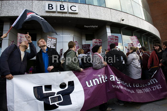 Unite Against Fascism demonstration opposing the invitation of BNP leader Nick Griffin on Question Time. BBC Television Centre, White City. - Jess Hurd - 2009-10-22