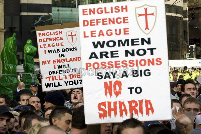 English Defence League march in Leeds - women are not possessions say no to Sharia - Jess Hurd - 2009-10-31