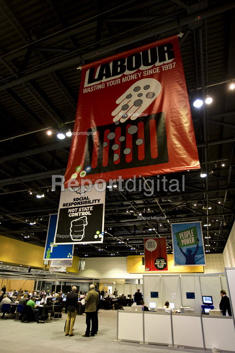 Anti Labour Party propaganda - Labour wasting your money since 1997, in the Conservative Party Conference press room 2009. Manchester. - Jess Hurd - 2009-10-05