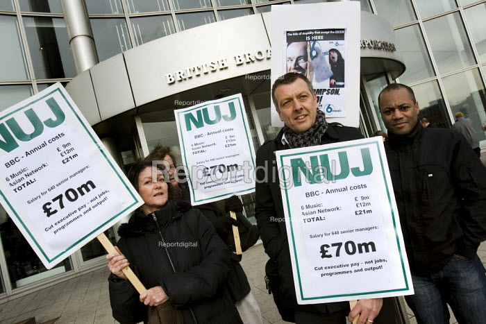 Jeremy Dear NUJ joins a protest outside the BBC against the proposed cuts to 6 music and the BBC Asian Network. London - Jess Hurd - 2010-03-03