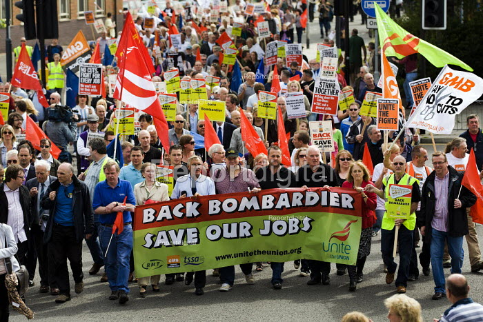 Protest to save 1400 jobs Bombardier Jobs after Governments � refusal to award the company the Thameslink contract. Derby. - Jess Hurd - 2011-07-23