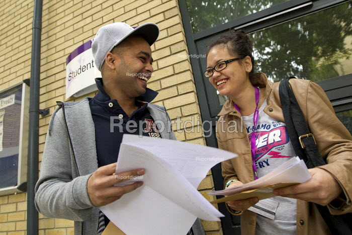 Students from Hackney Community College Sixth Form Centre receive their A-Level results. East London. - Jess Hurd - 2011-08-18