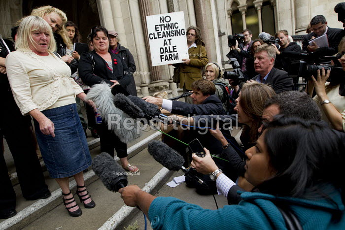 Kathleen McCarthy speaks to the assembled media. Travellers from Dale Farm and their supporters at the High Court in an appeal to stop their eviction by Basildon Council. London. - Jess Hurd - 2011-08-31