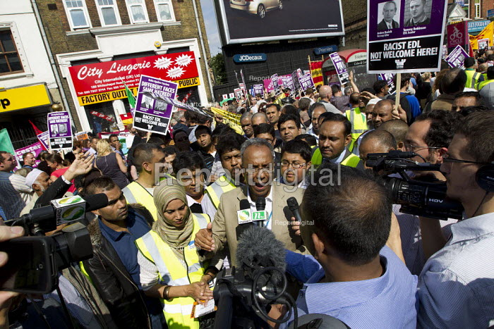 The Mayor of Tower Hamlets, Lutfur Rahman and local councillors join the demonstration against the EDL. English Defence League attempt to march in Tower Hamlets is stopped by a state ban and the mobalisation of local people by Unite Against Fascism. East London. - Jess Hurd - 2011-09-03