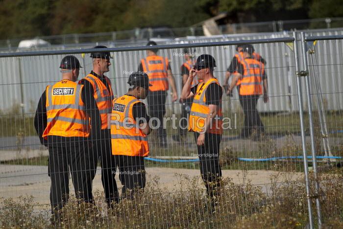 Bailiffs build an eviction site next to Dale Farm traveller site. Basildon Council. Essex. - Jess Hurd - 2011-09-16