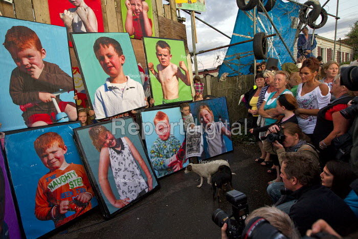 Photo's of traveller children, from a project with photographer Jess Hurd are held by residents of Dale Farm at a press conference on the eve of eviction by Basildon Council. Essex. - Jess Hurd - 2011-09-18