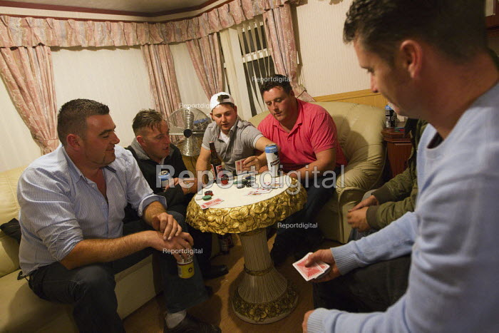 Poker night at Dale Farm after winning a High Court injunction delaying the eviction. Basildon, Essex. - Jess Hurd - 2011-09-19