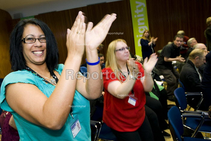 PCS delegates applauding, standing ovation during pensions debate TUC 2011 London. - Jess Hurd - 2011-09-14