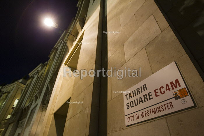 Street name changed to Tahrir Square. Occupy the London Stock Exchange against financial speculators and the banking crisis. St Paul's, London. - Jess Hurd - 2011-10-15