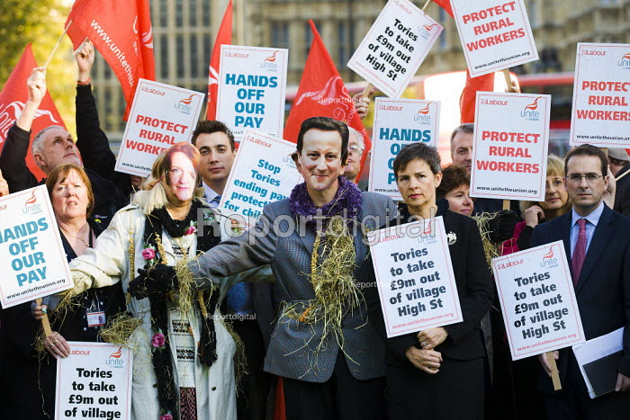 MP's join a demonstration to defend rural workers and their livelihood against the abolition of the Agricultural Wages Board. Unite the Union, Westminster, London. - Jess Hurd - 2011-10-25