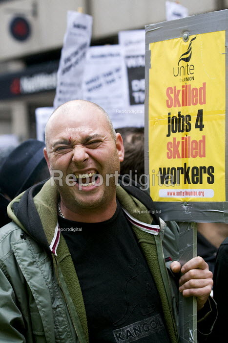 Electricians, plumbers and heating and ventilation engineers hold a national day of protest to defend the skills and pay of construction workers. Balfour Beatty to cut wages by 35% and leave the JIB national pay and conditions agreement. London. - Jess Hurd - 2011-11-09