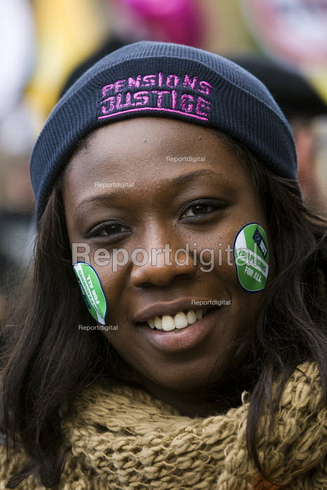 Teacher, NUT. Strike by public sector workers over pensions. London. - Jess Hurd - 2011-11-30