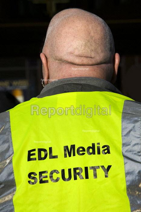 EDL media security. English Defence League march in Dagenham, Essex. - Jess Hurd - 2012-01-14