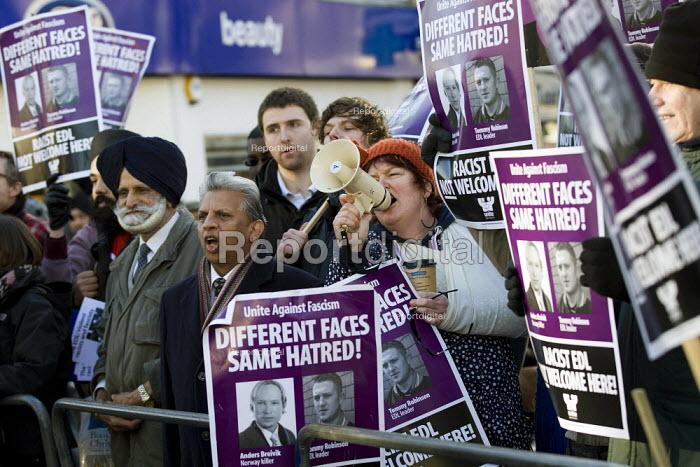 Unite Against Fascism demonstrate against an English Defence League march in Dagenham, Essex. - Jess Hurd - 2012-01-14