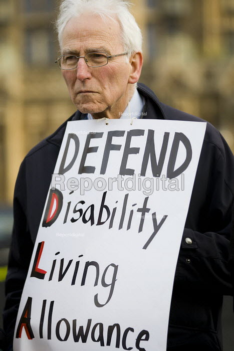 Defend the Disability Living Allowance. Protest against the Welfare Reform Bill outside the House of Lords. Westminster, London. - Jess Hurd - 2012-01-17