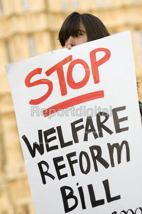 Protest against the Welfare Reform Bill outside the House of Lords. Westminster, London. - Jess Hurd - 2012-01-17