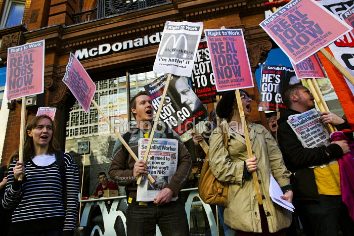 Right to Work protest against Workfare, the new unemployment scheme, McDonald's restaurant. Oxford Street, London. - Jess Hurd - 2012-02-25