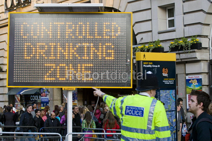 Sign indicating a controlled drinking zone. Operation Trafalgar launched in West End London. Increased, visible policing is designed to tackle crime, disorder and anti-social behaviour. Piccadilly Circus. - Jess Hurd - 2012-03-29