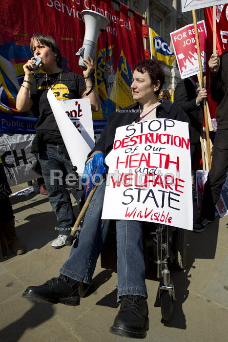 Stop destruction of our Health and Welfare State. Budget day protest against austerity cuts, Westminster, London. - Jess Hurd - 2012-03-21