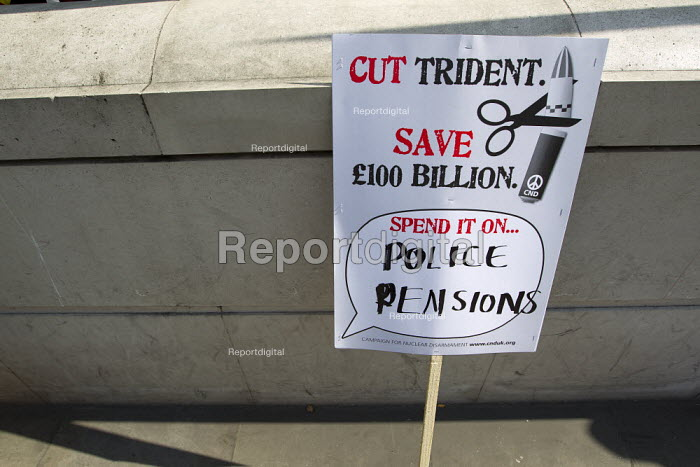 Cut Trident, spend it on police pensions. Budget day protest against austerity cuts, Westminster, London. - Jess Hurd - 2012-03-21