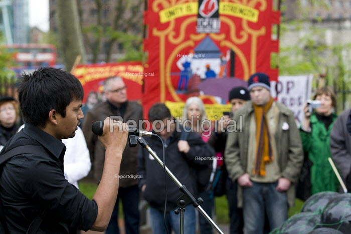 Speaker from Bhopal. Health and Safety Day of Action. Workers International Memorial Day. London. - Jess Hurd - 2012-04-28