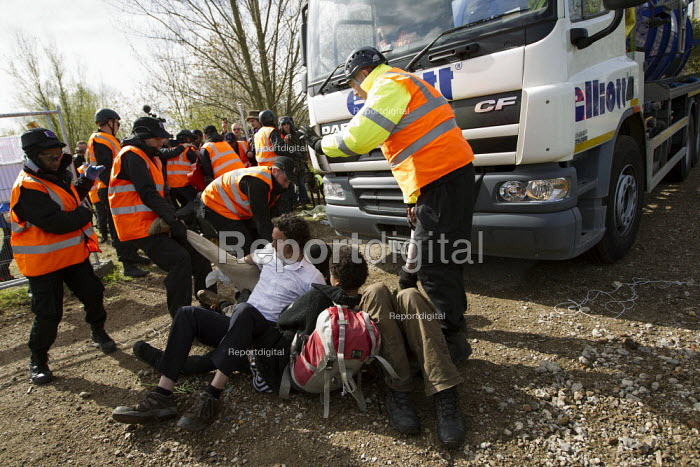 Bailiffs evict the Leyton Marsh anti olympic protest camp. Activists are arrested after blocking the site entrance to construction vehicles and breaching the site. Hackney, East London. - Jess Hurd - 2012-04-10