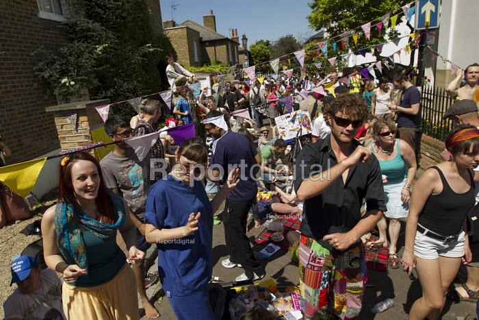 UK Uncut Great London Street Party outside Nick Clegg MPs London home. Putney. - Jess Hurd - 2012-05-26