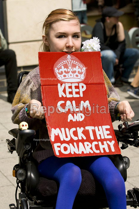 Keep Calm and Muck the Fonarchy. Disabled rights campaigner joins UK Uncut anti austerity, anti monarchy street party, Diamond Jubilee weekend, Brighton. - Jess Hurd - 2012-06-02