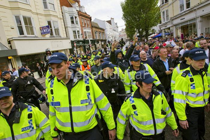 English Defence League disrupt a UK Uncut anti austerity, anti monarchy street party, Diamond Jubilee weekend, Brighton. - Jess Hurd - 2012-06-02